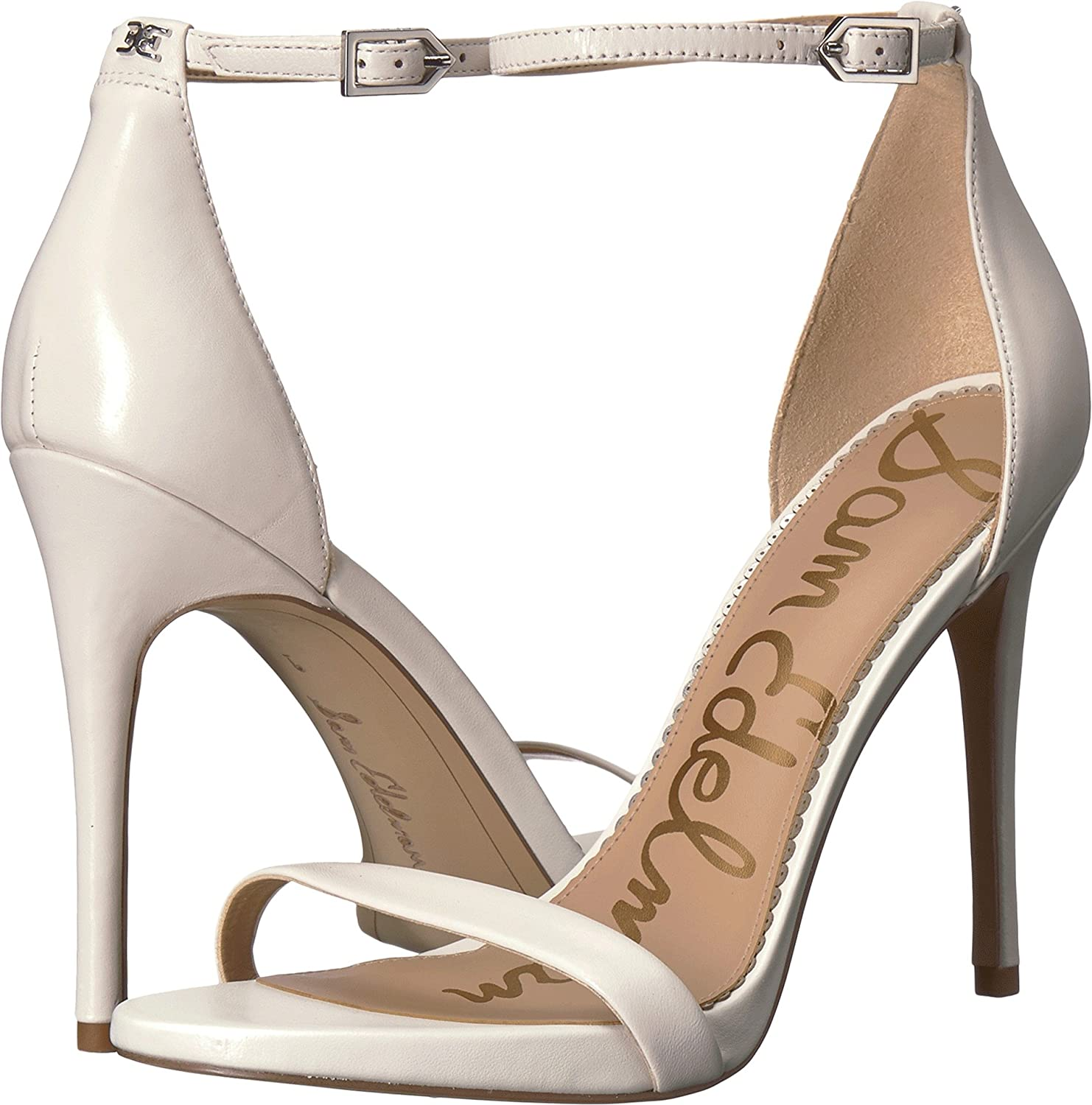 Bright White Nappa Luva Leather Sam Edelman Womens Ariella Heeled Sandal