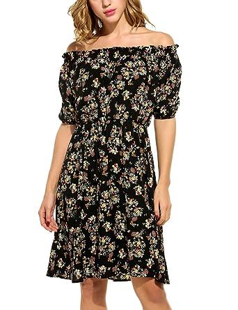 b2bd9f0b6cd0 ELESOL Women's A Line Short Sleeve Off The Shoulder Floral Print Dresses  Black L