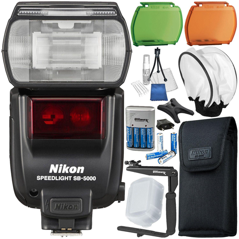 Nikon SB-5000 AF Speedlight - 11PC Accessory Bundle Includes Battery Charger + 8x Rechargeable Batteries + Soft Flash Diffuser + 180° Flash Bracket & Starter Kit