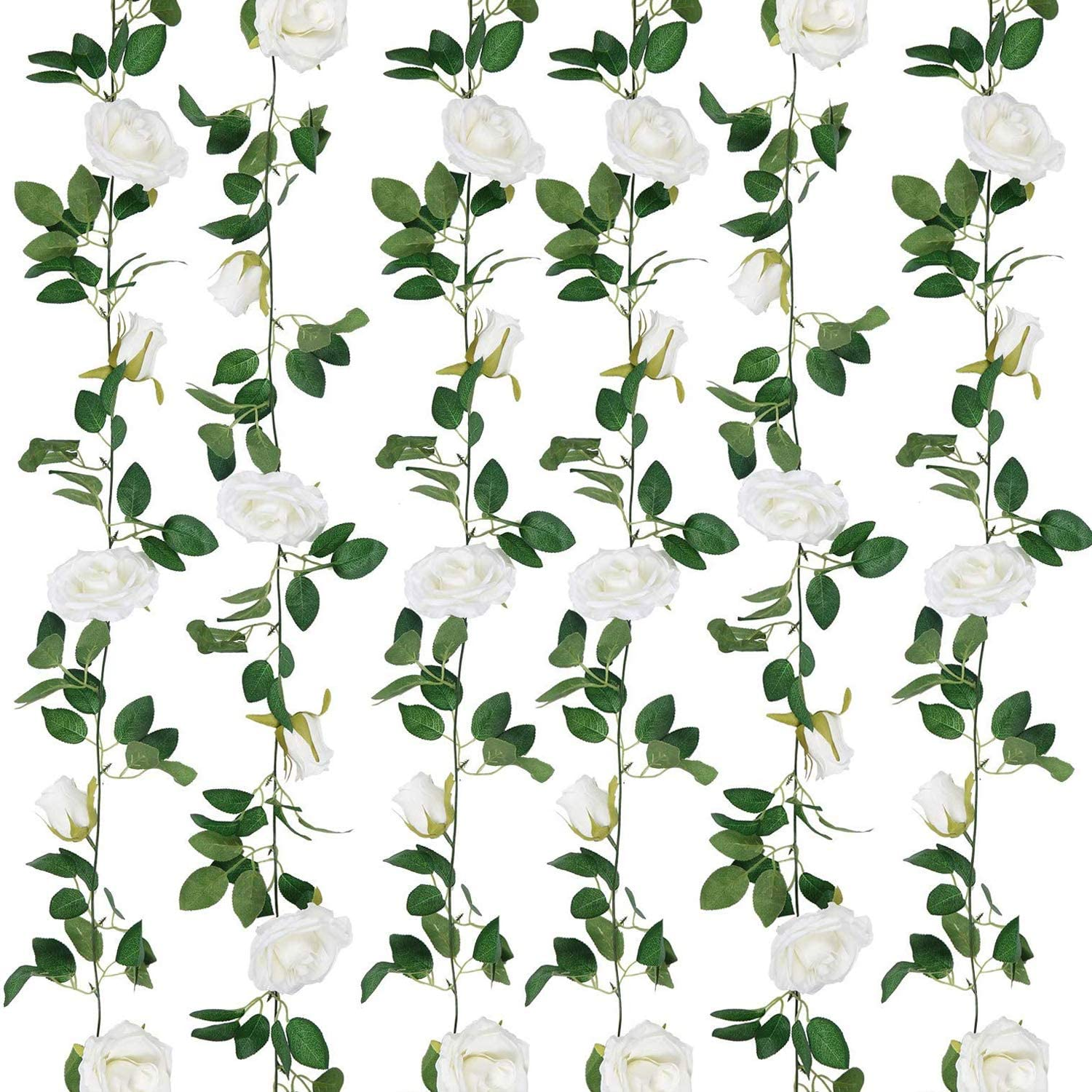 SHACOS Artificial White Rose Garlands 2 Pack Rose Vines Leaves Hanging Rose Flower Garland Home Garden Wedding Party Decor (White, 2)