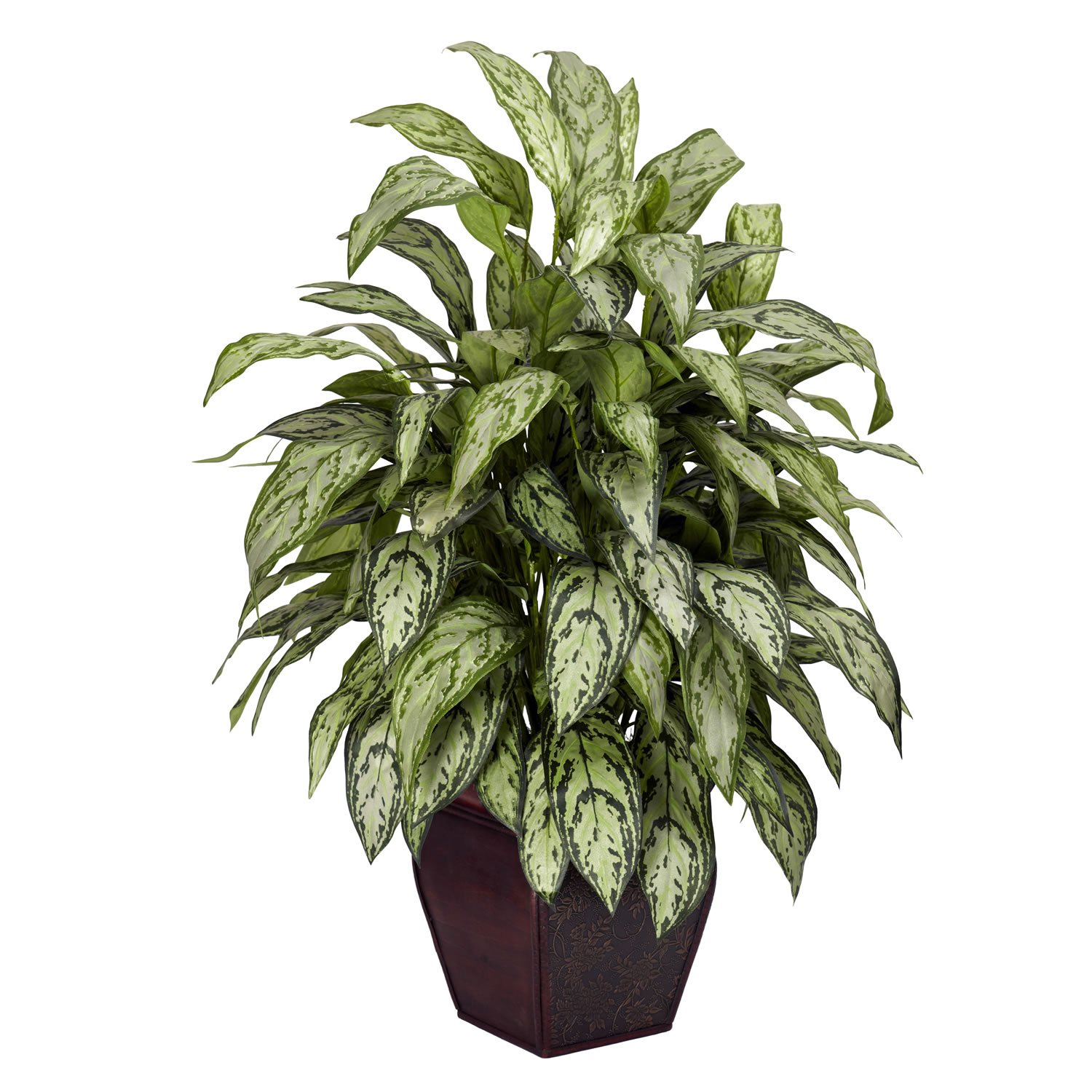 Nearly Natural 6693 Silver Queen with Planter Decorative Silk Plant, Green