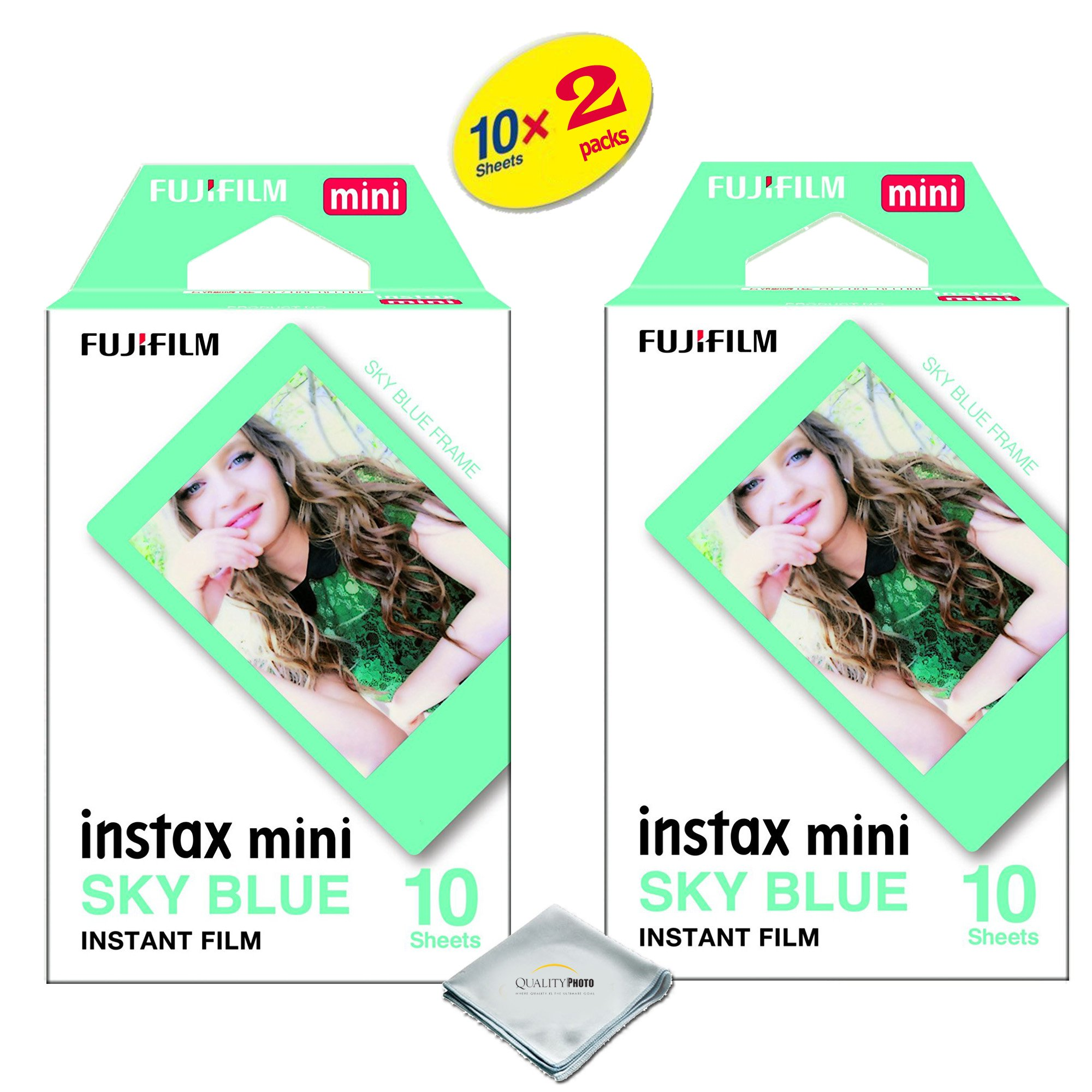 Fujifilm Instax Mini 8 & Mini 9 Film 2-Pack (20 Sheets) for Fujifilm instax Mini 8 & Mini 9 Cameras Sky Blue