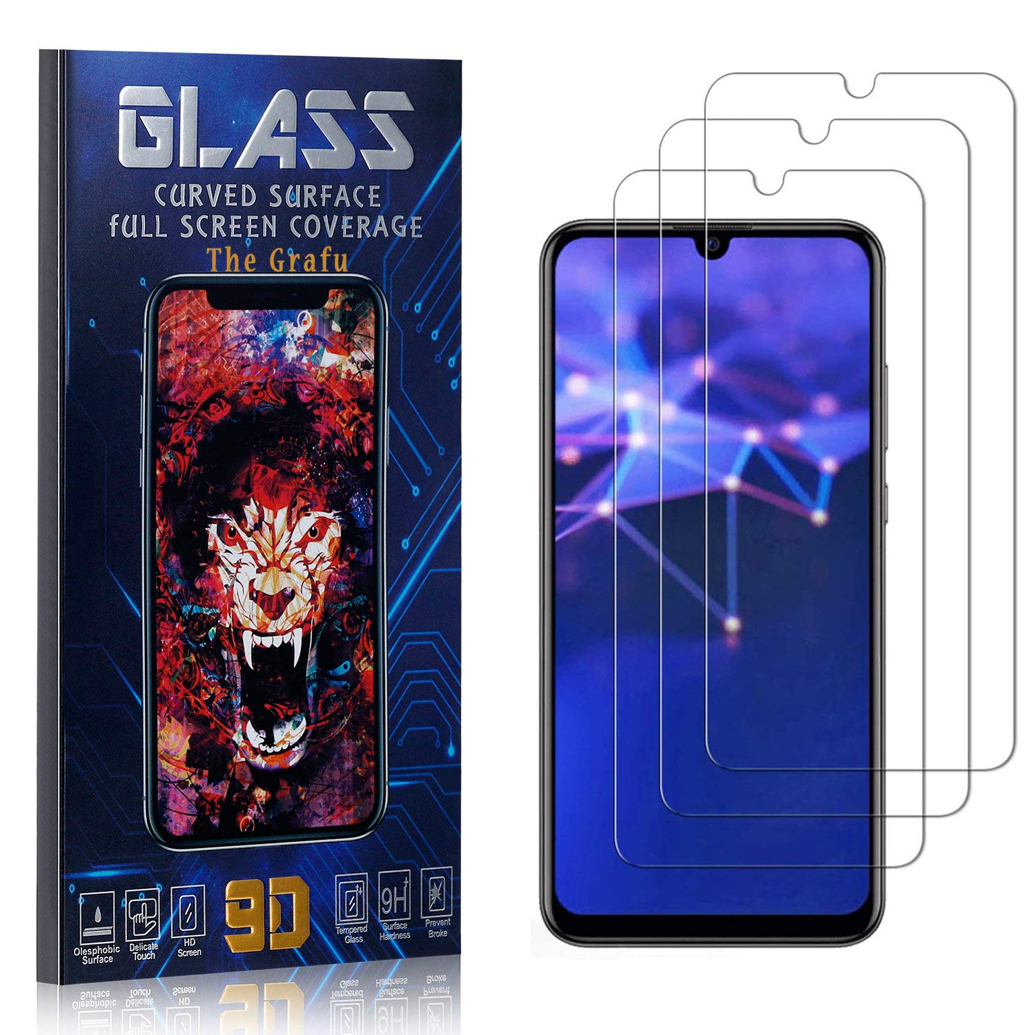 Easy Installation The Grafu Screen Protector for Huawei Honor 20 Lite Tempered Glass High Transparency Screen Protector for Huawei Honor 20 Lite Bubble Free 3 Pack
