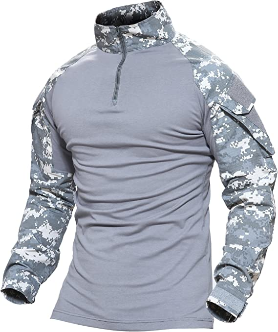 MAGCOMSEN Hombres Airsoft Táctico Militar Combate Delgado Ajuste Camiseta Largo Manga con Cremallera