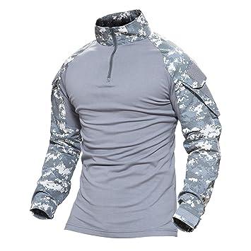 212bbe77b0 MAGCOMSEN Hombres Airsoft Táctico Militar Combate Delgado Ajuste Camiseta  Largo Manga con Cremallera  Amazon.es  Deportes y aire libre