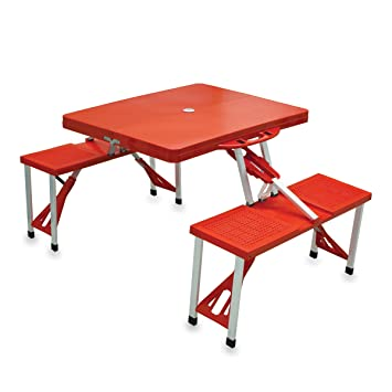 Amazing Picnic Time Portable Folding Picnic Table With Seating For 4, Red