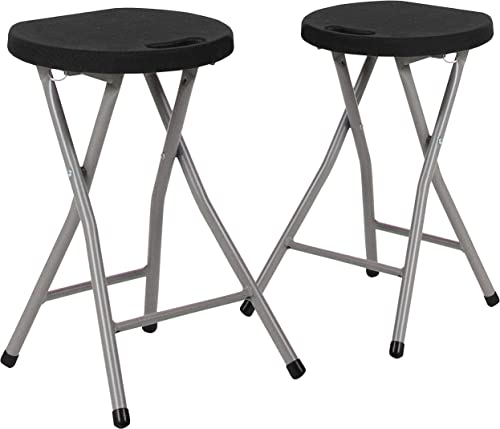 Flash Furniture 2 Pack Foldable Stool with Black Plastic Seat and Titanium Gray Frame