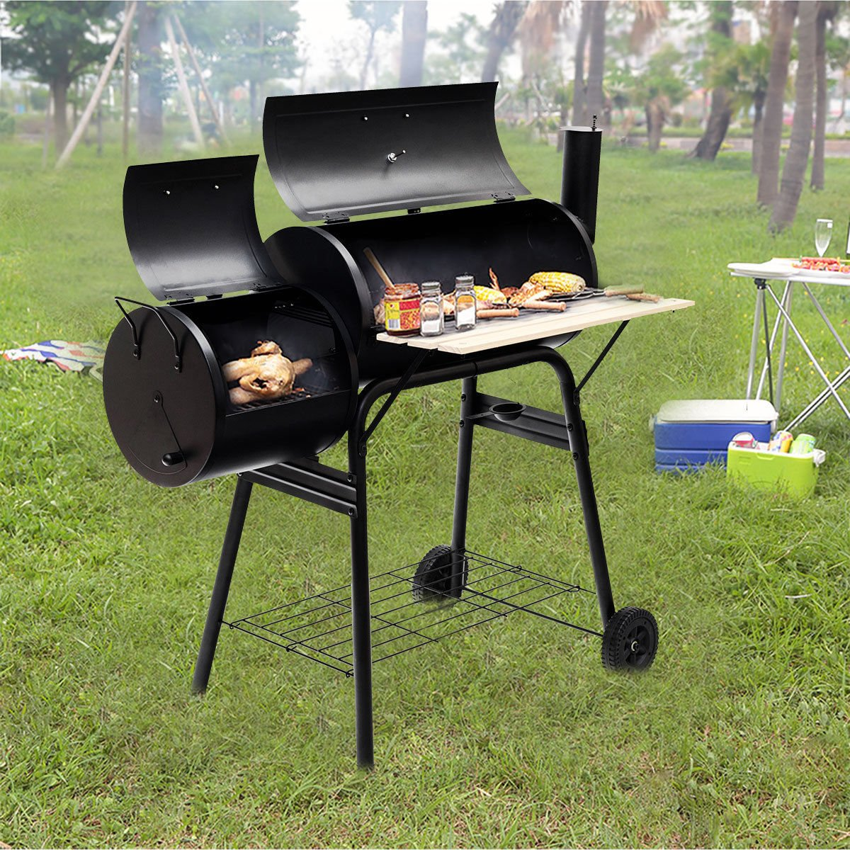 VeenShop Family Happiness Outdoor BBQ Grill Charcoal Barbecue Pit Patio Backyard Meat Cooker Smoker by VeenShop