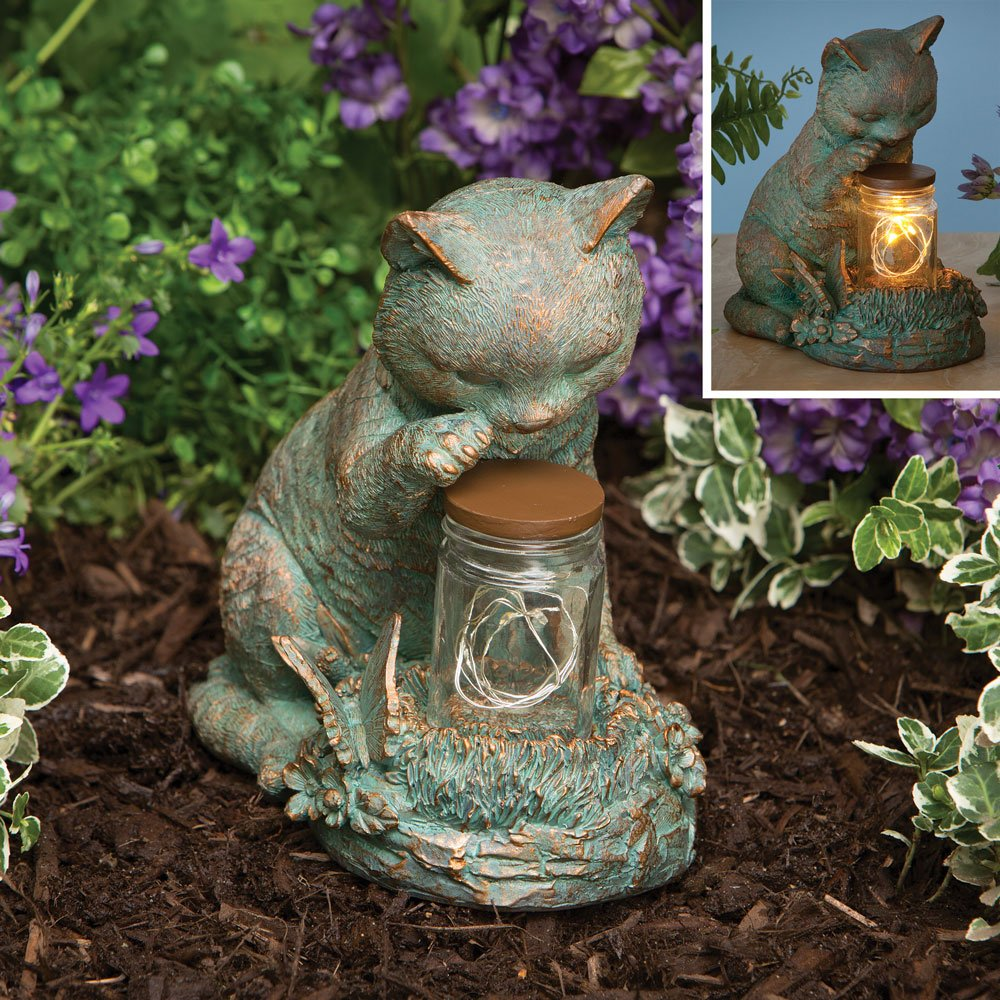 Bits and Pieces - Cat with LED Light Up Jar - Cat Statue with LED Mason Jar Light - Illuminate Your Yard or Garden - Outdoor Décor and Lighting