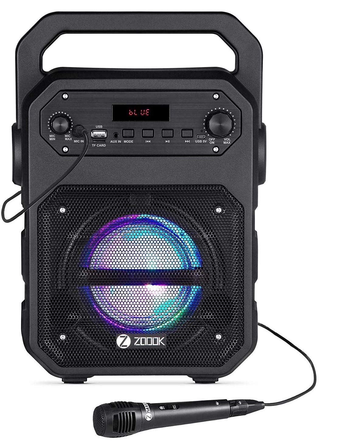Zoook Rocker Thunder 20 watts Bluetooth Party Speaker with Karaoke Mic/TF/FM/LED/USB/Party Speaker (Black)
