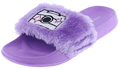 Capelli New York Girls Faux Fur Slides with Camera Smile Appliques and  Embroidery Purple Combo 1 c255c7bc76627