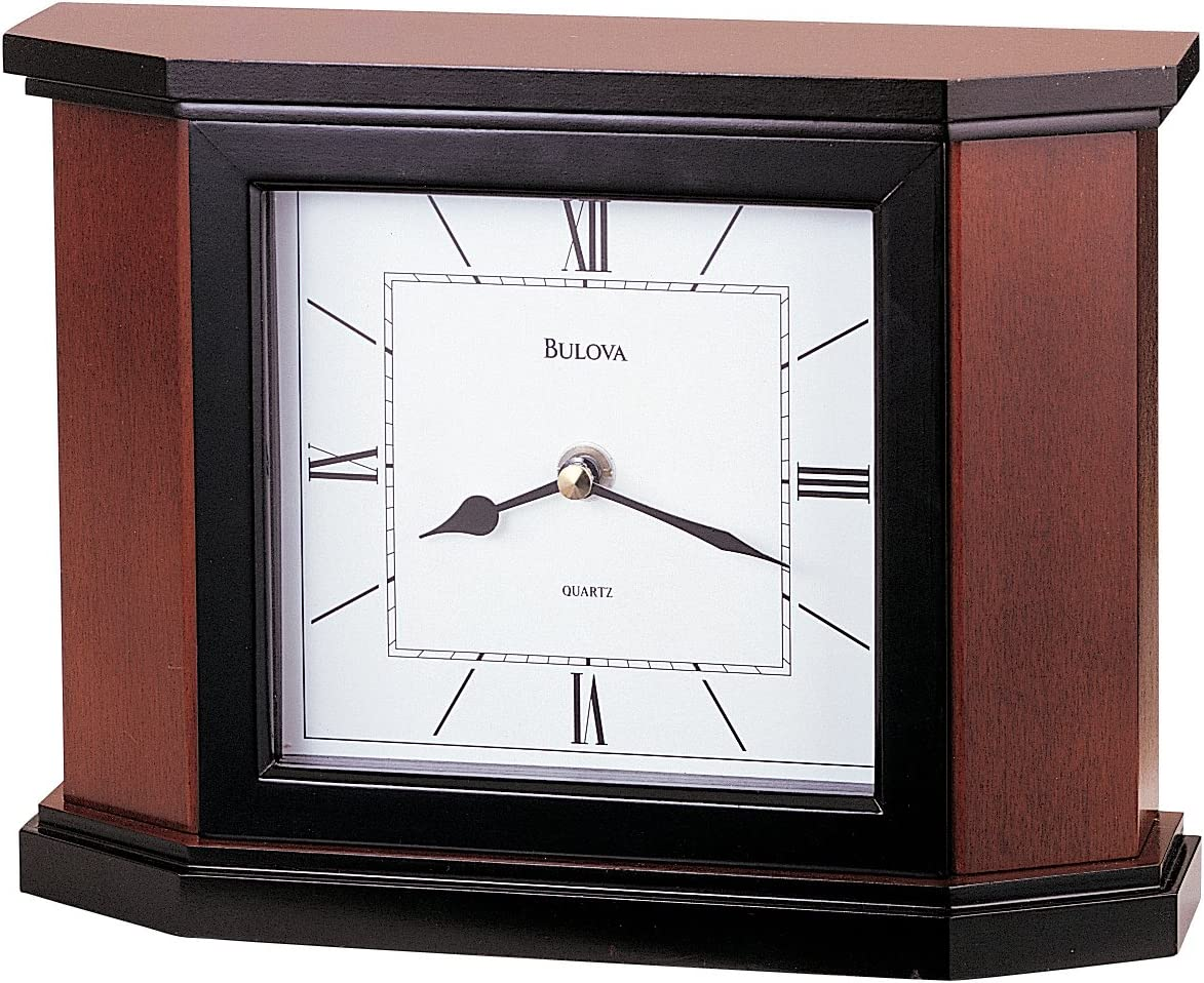 Bulova B1881 Holyoke Clock, Cherry Brown