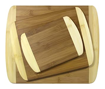 Amazoncom Totally Bamboo 3 Piece 2 Tone Bamboo Board Set 12