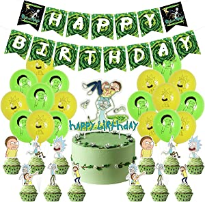 Rick and Morty Birthday Decorations Party Supplies Include Happy Birthday Banner, 18pcs Rick Morty Balloons, 12pcs Cupcake Toppers and 1 Large Cake Toppers for Women Men Adults