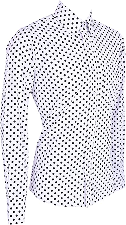 Camisa de Manga Larga para Hombre, diseño de Lunares Blancos y Negros, Estilo Vintage Retro 60s 70s Blanco En Blanco Y Negro XXL 112/117 cm: Amazon.es: Ropa y accesorios