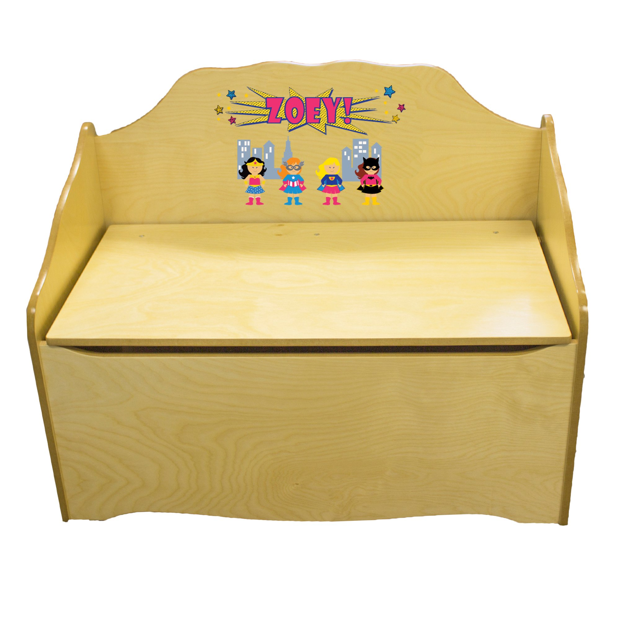 Personalized Girls Superhero Childrens Natural Wooden Toy Chest