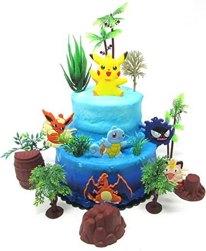 Surprising Pokemon Go Birthday Cake Topper Set Featuring Pokemon Characters Personalised Birthday Cards Bromeletsinfo