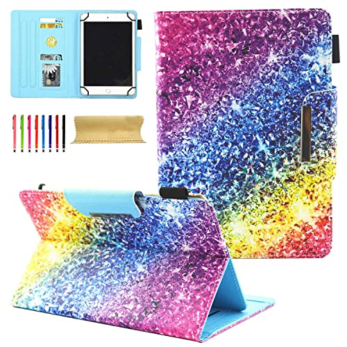 Universal Case for 6.5-7.5 inch Tablet, Uliking PU Leather Protective Cover with Multi-Angle Stand Magnetic Closure Card Slot Wallet Case for 6.5-7.5 inch IOS Android Windows Tablet, Colorful Diamonds