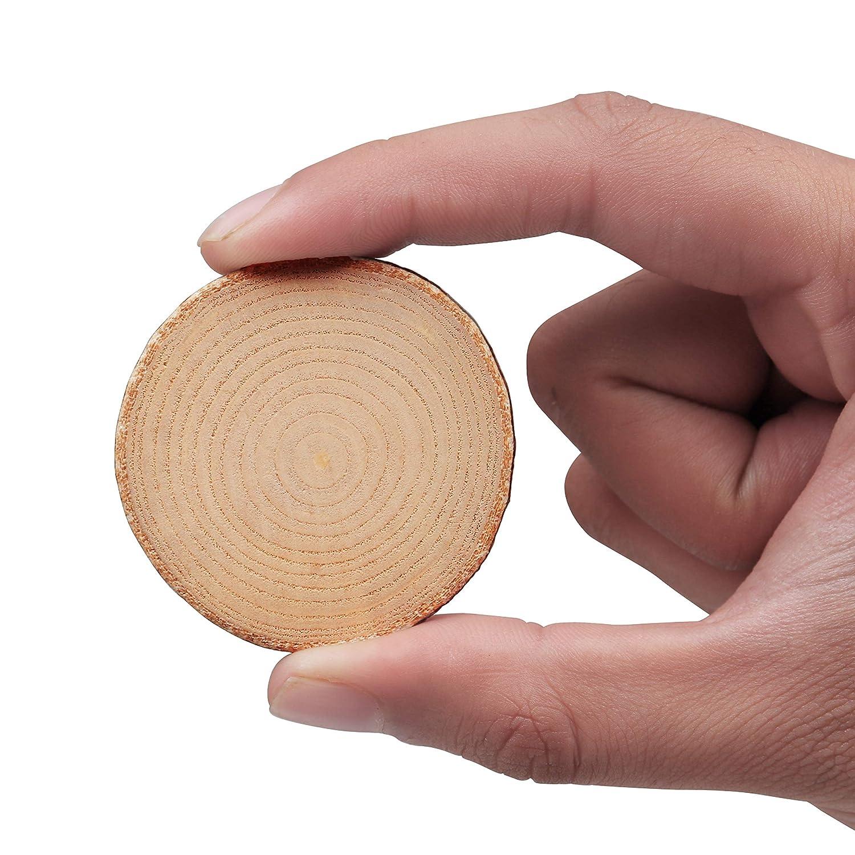 Disque en Bois Rustique avec Motif- Cercle de Bois pour Les Arts et L/'artisanat Tranche de Bois Natural 50 Pcs -Taille 3 /à 5cm Diam/ètre /& 5mm Epais D/écorations le Bricolage Loisirs Cr/éatifs