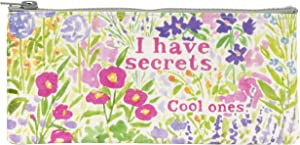 Blue Q Pencil Case, I Have Secrets. Cool Ones. (Flower Garden Design) Hefty Zipper, Sturdy and Easy-to-Wipe-Clean, Made from 95% Recycled Material, Measures 4.25