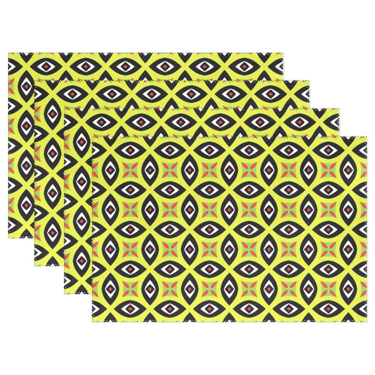 パターン アイ グリーン ブラック デザイン シームレス テクスチャ プレースマット 4枚セット 断熱 汚れにくい ダイニングテーブル 耐久性 ノンスリップ キッチン テーブル プレースマット   B07G85NNRT