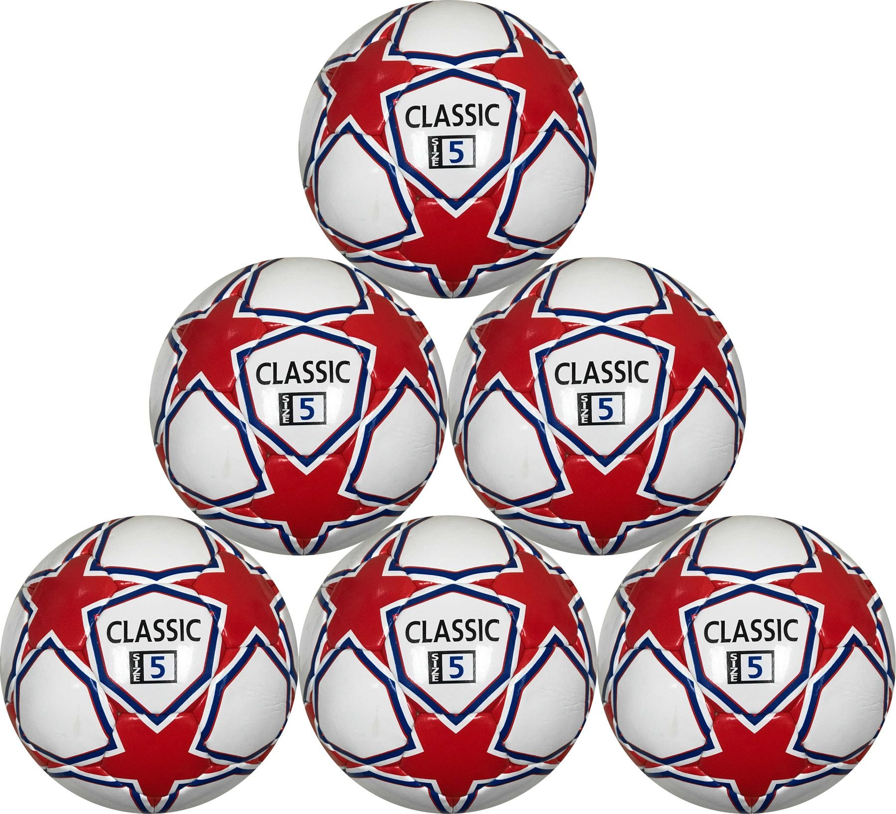 Classic Soccer Balls Match Level High End Six Pack White Red and Blue 32 Panel Size 5