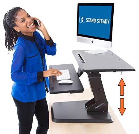 Stand Steady 32 Momentum Standing Desk Easily Adjustable Sit to Stand Desk with Gas Spring Lift Sit-Stand Desk with Keyboard Tray Bonus Tablet Slot Sleek Modern Design Black