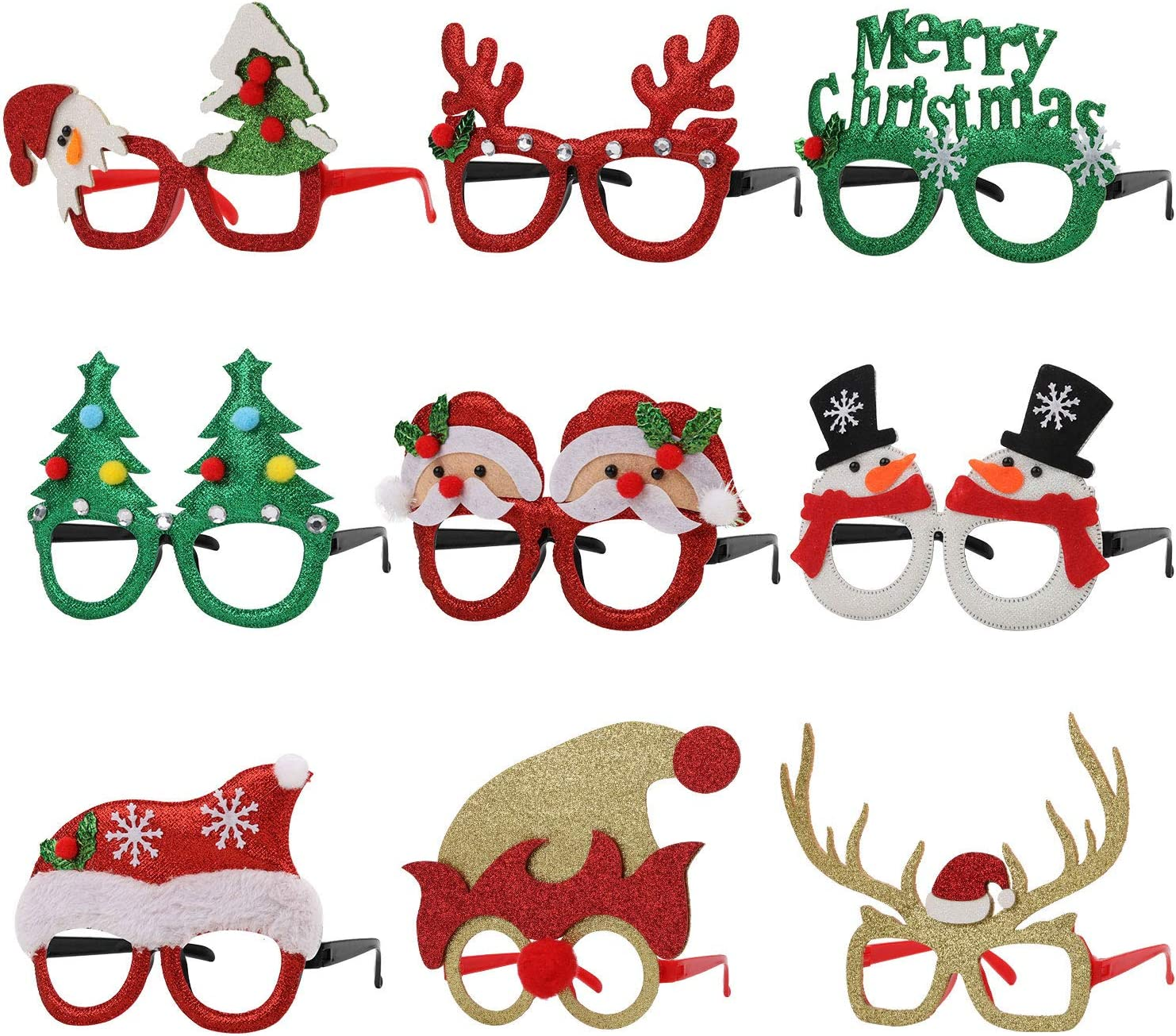 9 Pieces Christmas Glitter Party Glasses Decoration Eyeglasses For Glasses Frame