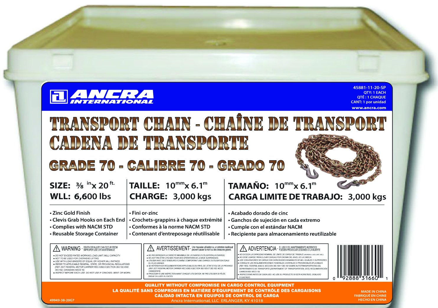 Ancra 45881-11-20-SP Transport Chain with Grab Hooks, Grade 70, 3/8-Inch by  20-Feet, Plastic Pail
