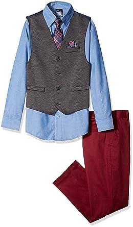 342b75365 Nautica Boys' Big 4-Piece Formal Dresswear Vest Set, Aqua Stone Blue,