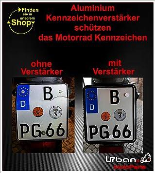 Urbanii Motorrad Kennzeichenverstärker Carbon Optik Schwarz Alu 220 X 200 Mm Auto
