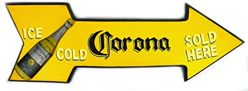 29 Hand Carved Corona ICE Cold Served HERE Arrow Beer Wooden Wall Hanging Art Sign Tiki Bar