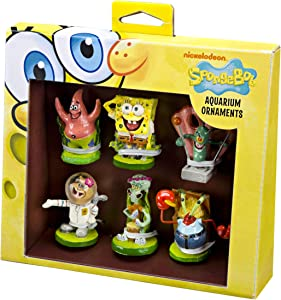 Penn-Plax Officially Licensed Spongebob 6 Piece Mini Aquarium Ornament Set – Great for Saltwater and Freshwater Tanks, Model:SBR1A