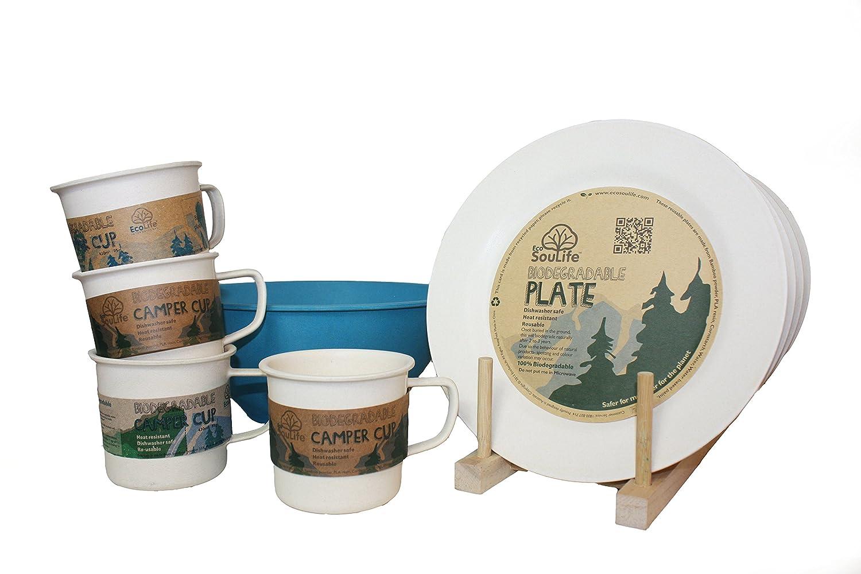 Ecosoulife生分解性Eco Dineセット – ( 4 xプレート、4 xカップ、1 xボウル) B015D3OUUE  Breeze Sand