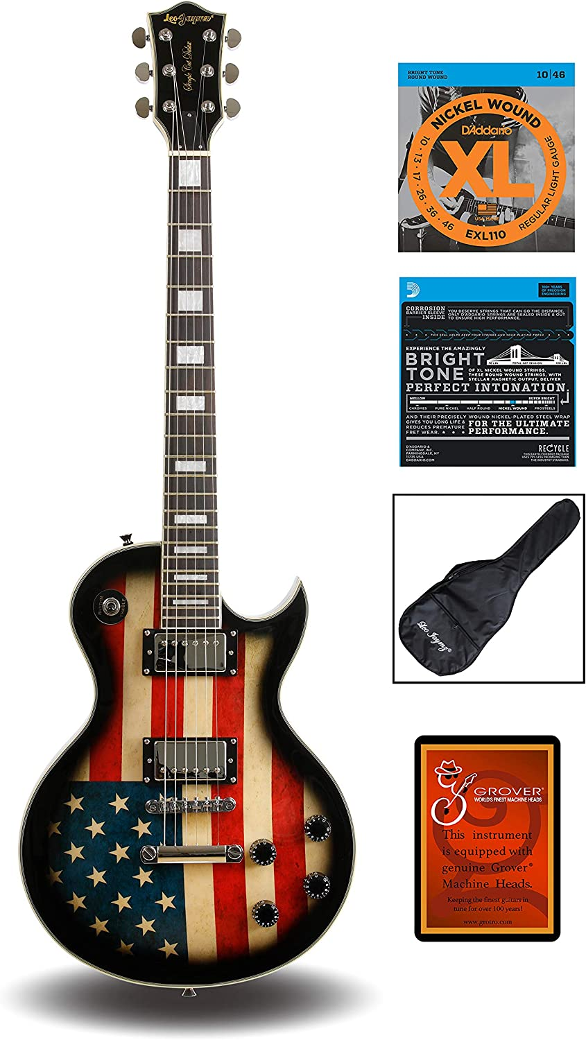 Leo Jaymz Full Size Single Cut Electric Guitar – with Amazing US Flag Sticker on Curved Top – Grover Machine Heads…