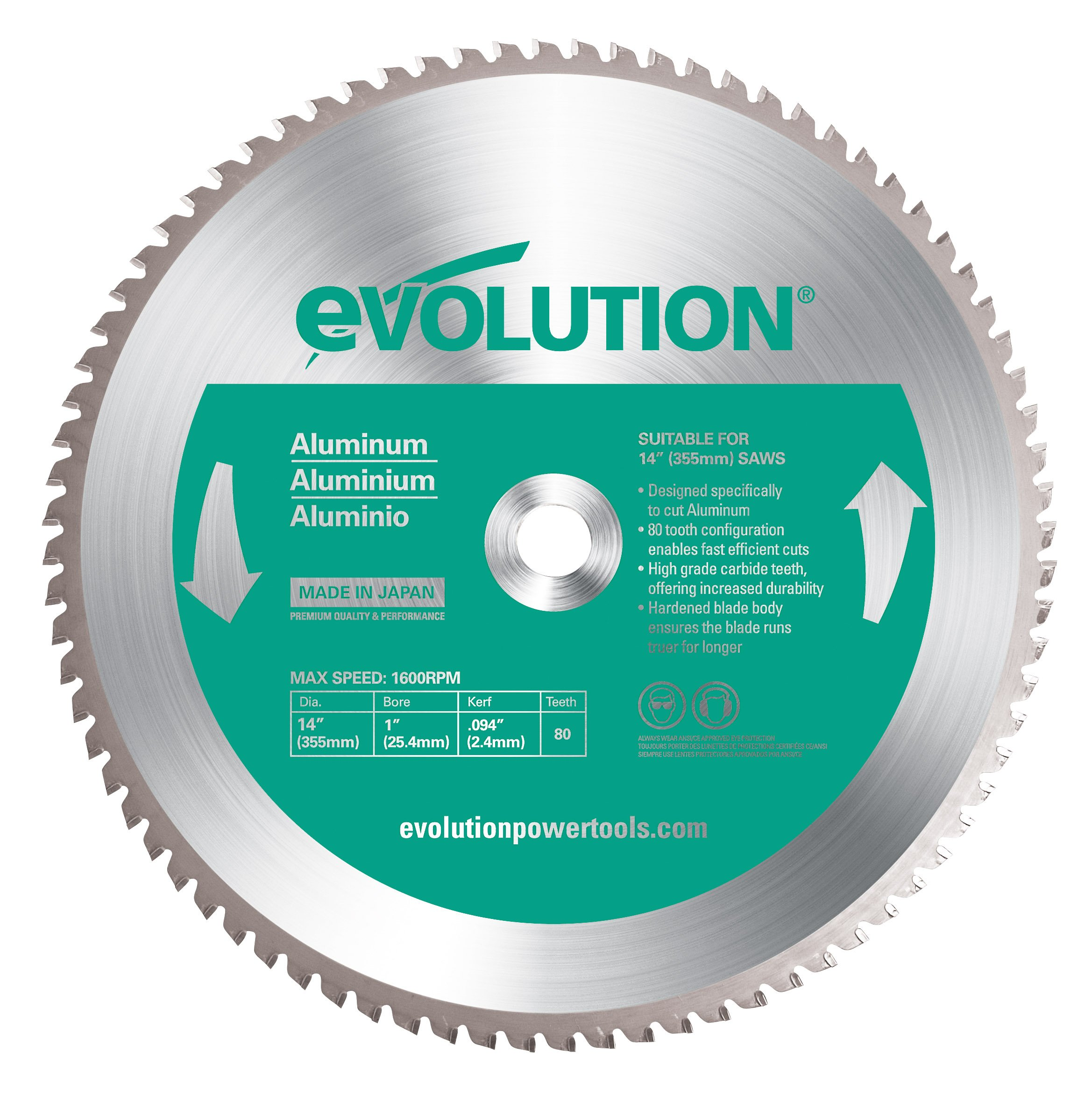 Evolution Power Tools 14BLADEAL Aluminum Cutting Saw Blade, 14-Inch x 80-Tooth