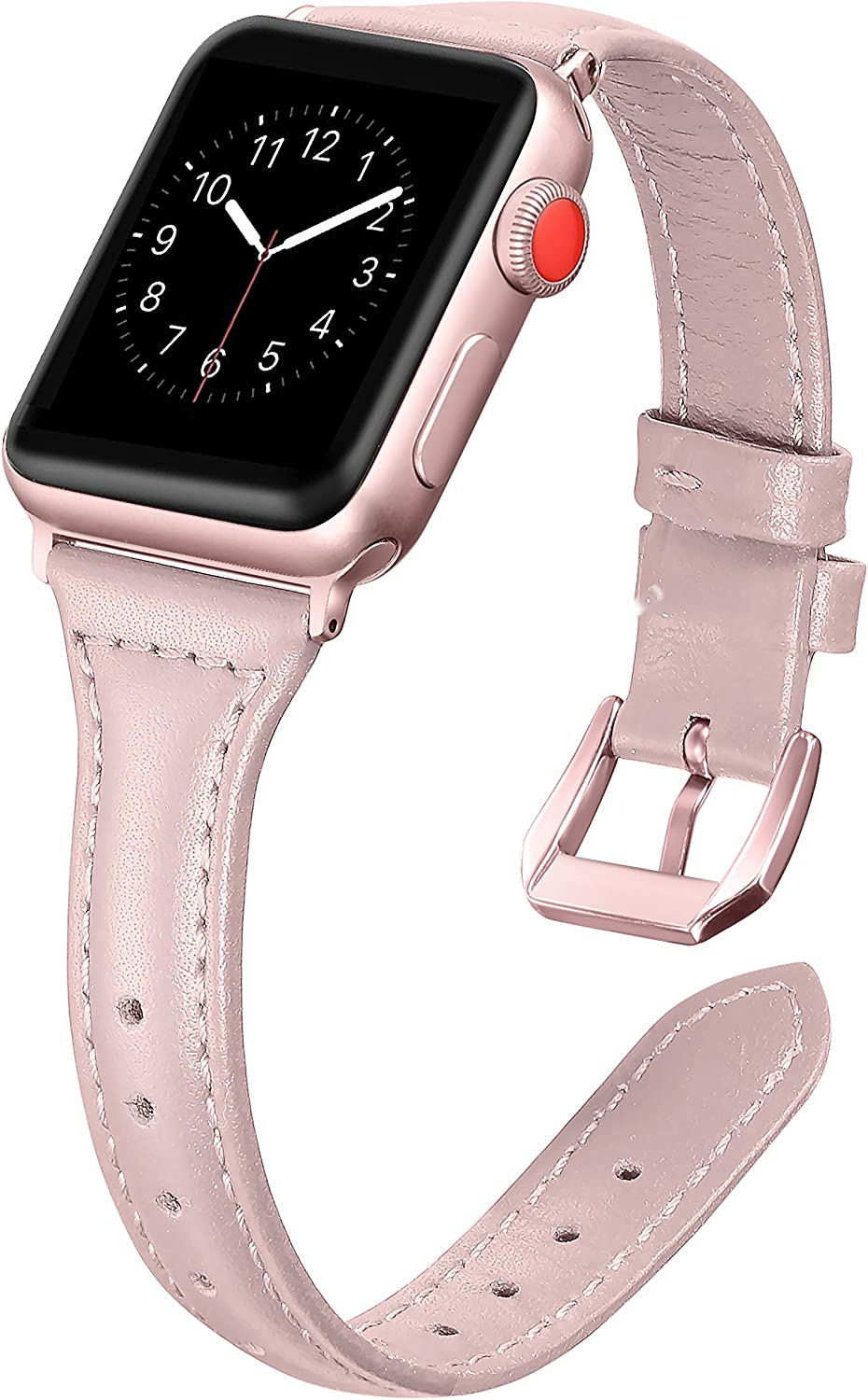Secbolt Leather Bands Compatible Apple Watch Band 38mm 40mm Iwatch Series 6 5 4 3 2 1 SE Slim Replacement Wristband Strap Stainless Steel Buckle, Pink with Rose Gold Buckle