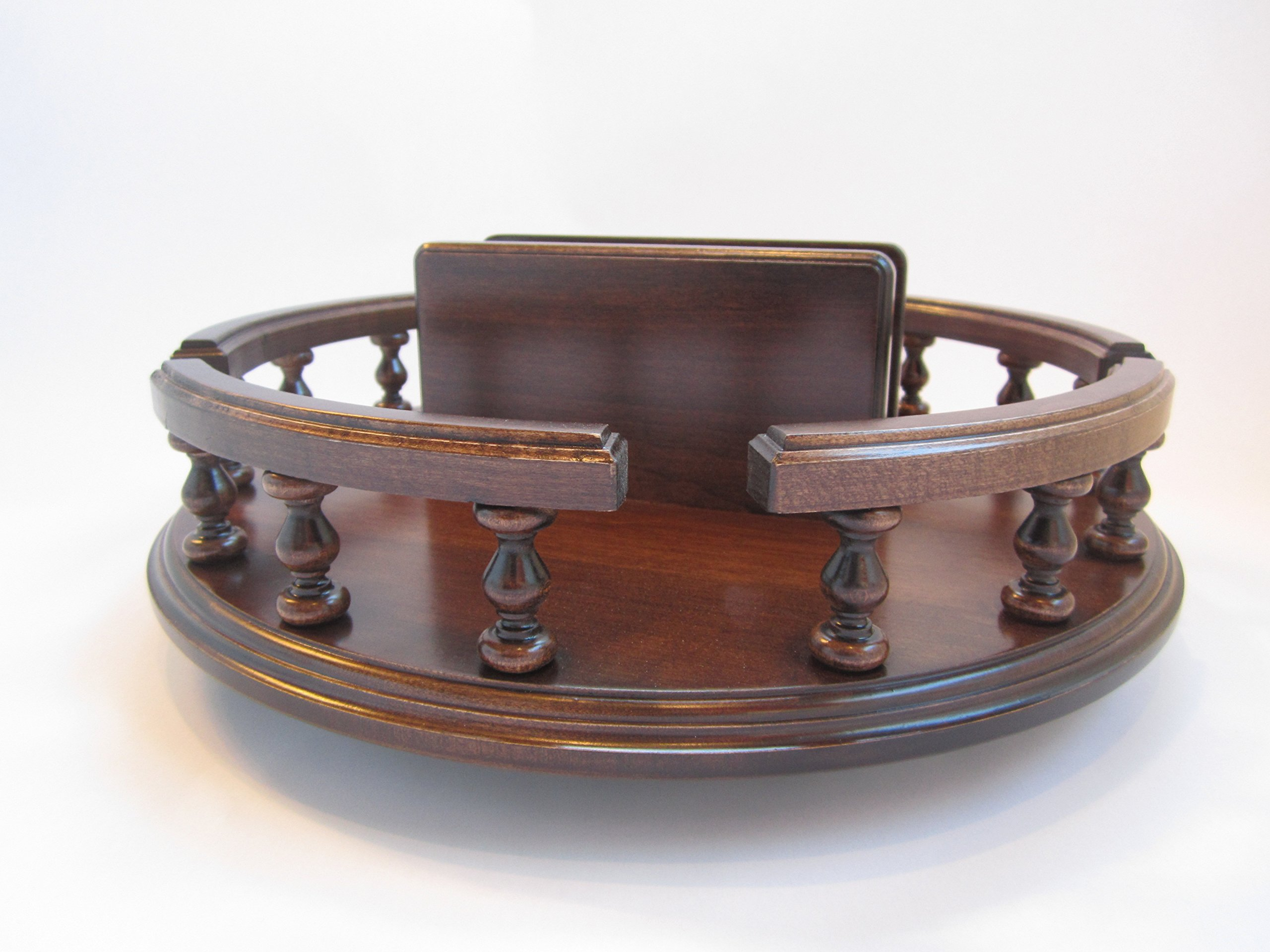Amish Handcrafted 14'' Lazy Susan with Napkin Holder Turn Table Revolving Solid Wood Brown Maple Table Centerpiece Rotate Condiment Server Swivel