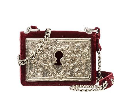 465f23ce88a4 Prada Women's Cahier Small Lock Velvet Trunk Crossbody Bag Burgundy  Embossed Metal Face Plate and Chain Strap 1BH018: Handbags: Amazon.com