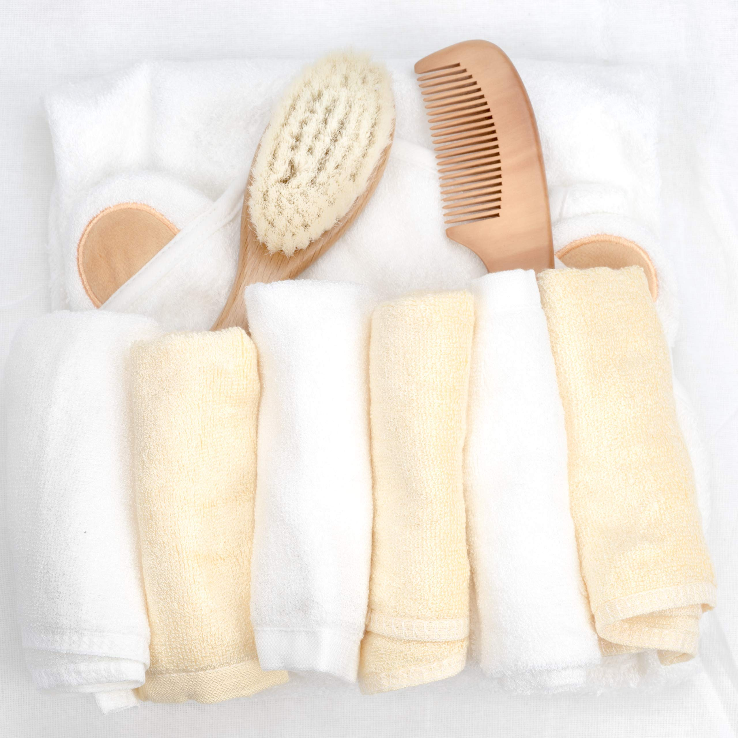 Peak Emporium Bamboo Washcloth & Hooded Towel Set | Organic Bath Time Essentials for Newborns to Toddlers | Extra Thick & Soft Cloth | Bonus Hair Brush Grooming Kit | Ideal Baby Registry Gift by Peak Emporium