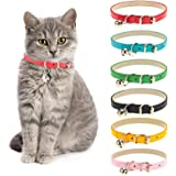 Chenkaiyang Cat Collars Leather with Removable Bell Polished Durable Metal Buckle Soft and Adjustable for Cats Puppy Small Me