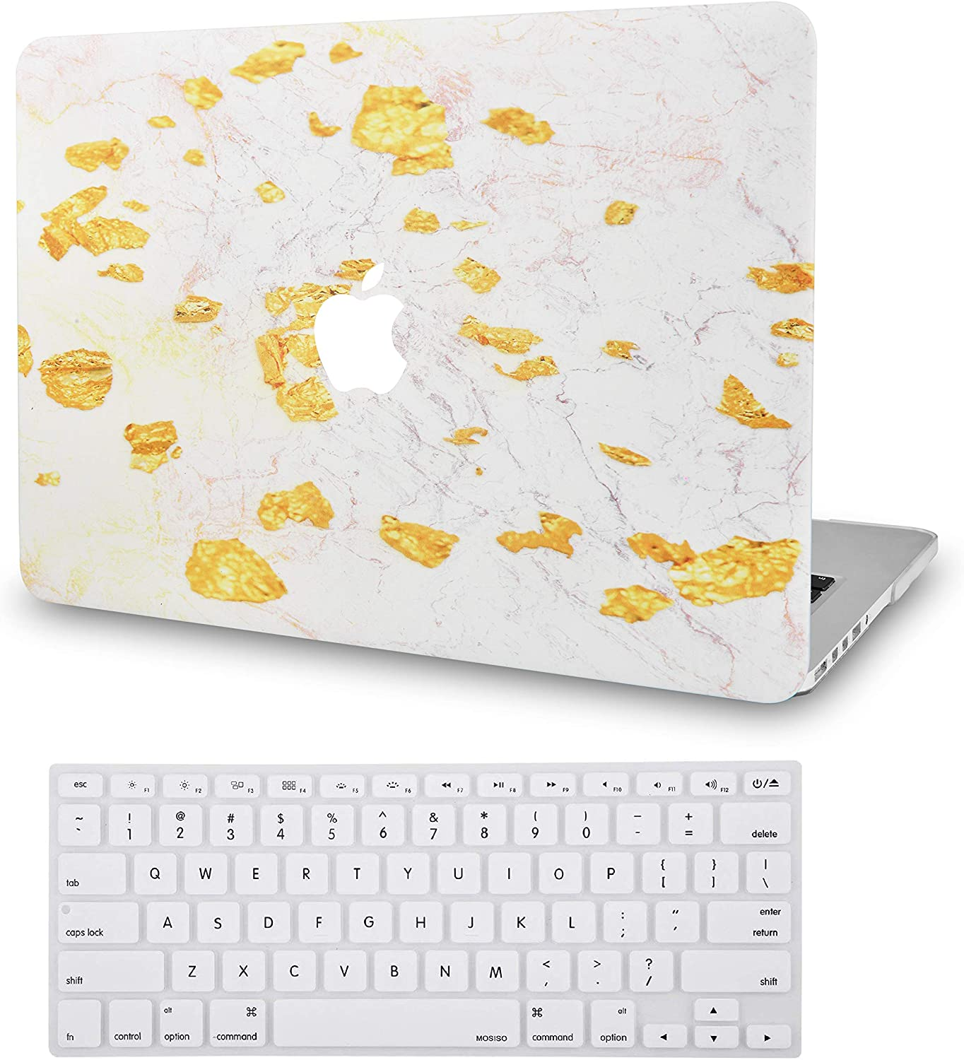 LuvCase 2 in 1 Laptop Case Compatible with MacBook Air 13 Inch (2018-2020) A1932 (Touch ID) Retina Display Rubberized Plastic Hard Shell Cover & Keyboard Cover (Gold Foil Marble)