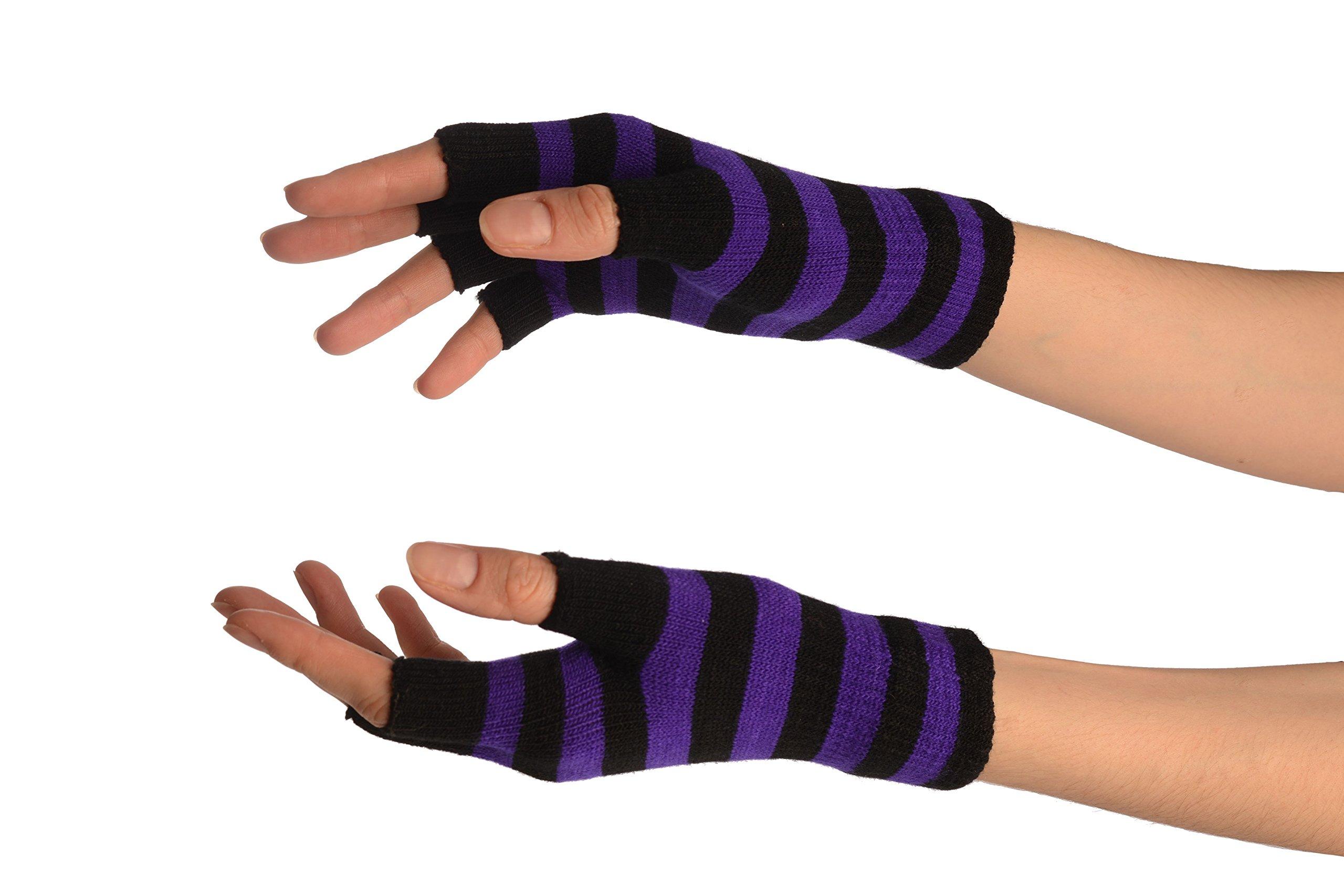 Purple & Black Stripes Short Fingerless Gloves - Gloves