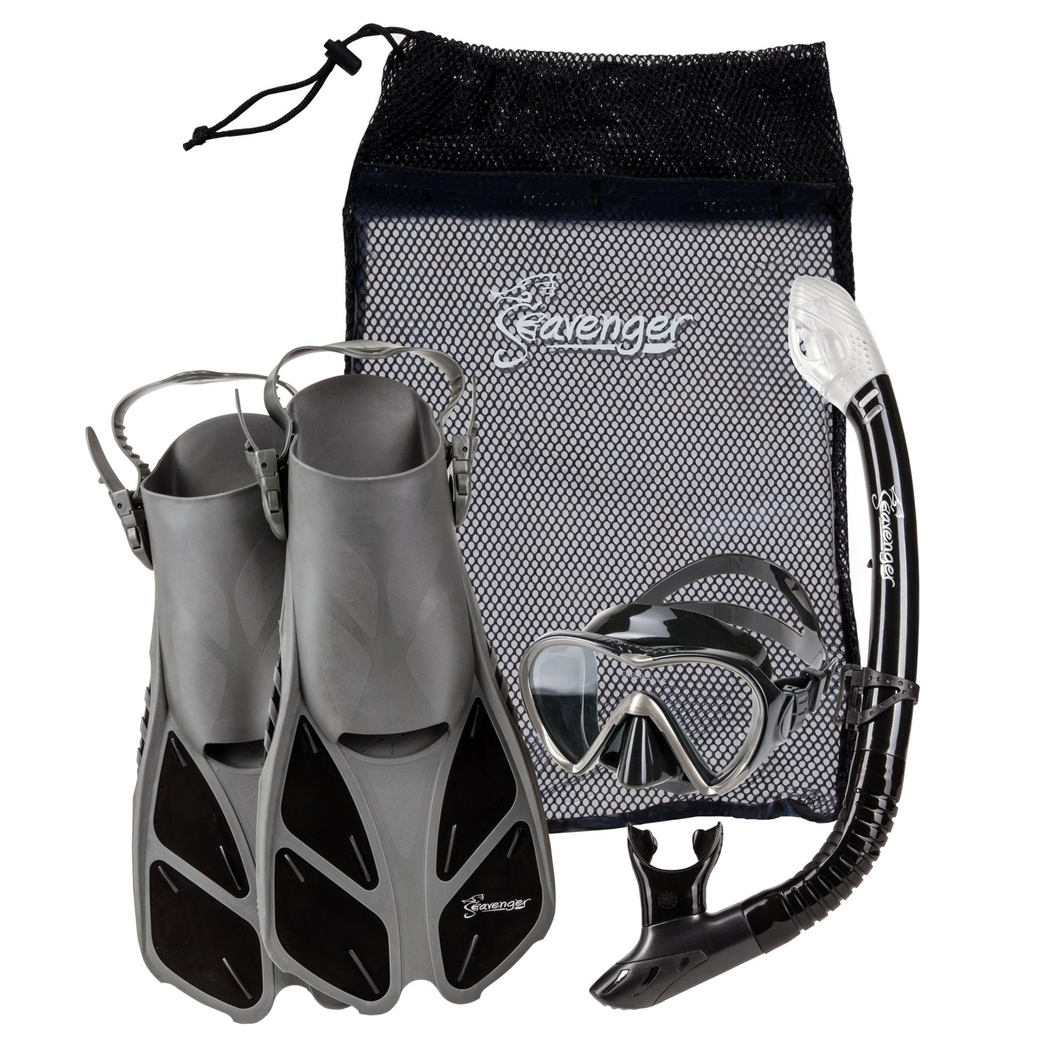 Seavenger Diving Dry Top Snorkel Set with Trek Fin, Single Lens Mask and Gear Bag, XS/XXS - Size 1 to 4 or Children 10-13, Gray/Black Silicon