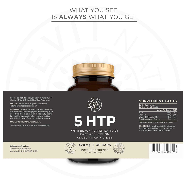 Serotonina 5HTP Suplemento de Alta Potencia para el Cerebro de Acción Rápida con Bioperina, Vitamina C y Vitamina B6-420MG 30 Cápsulas: Amazon.es: Salud y ...