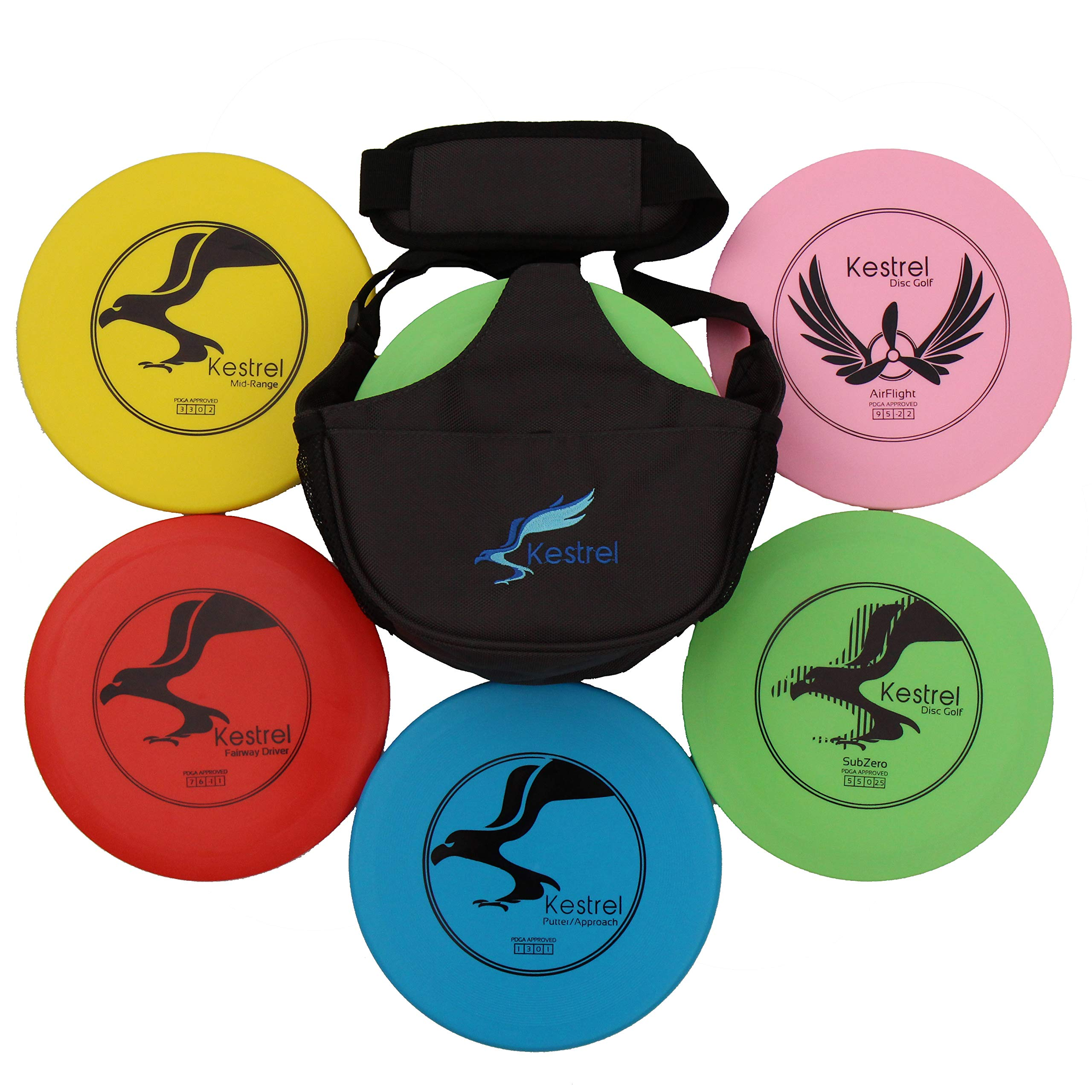 Kestrel Sports Disc Golf Pro Set Bundle | 3 Discs + Bag | Perfect Outdoor Games for Kids | Includes Fairway Driver, Mid-Range and Putter Outdoors Games | Ages 6+ (Kestrel Plastic 5)... by Kestrel Sports