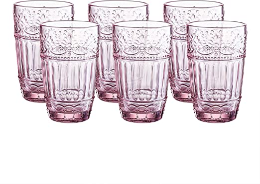 Amazon Com Glass Tumblers 12 Ounce Embossed Design Drinking Glasses Set Of 6 Pink Tumblers Water Glasses