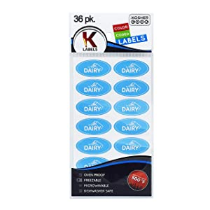 36 Dairy Blue Kosher Labels – Oven Proof up to 500°, Freezable, Microwavable, Dishwasher Safe, English – Color Coded Kitchen Stickers by The Kosher Cook