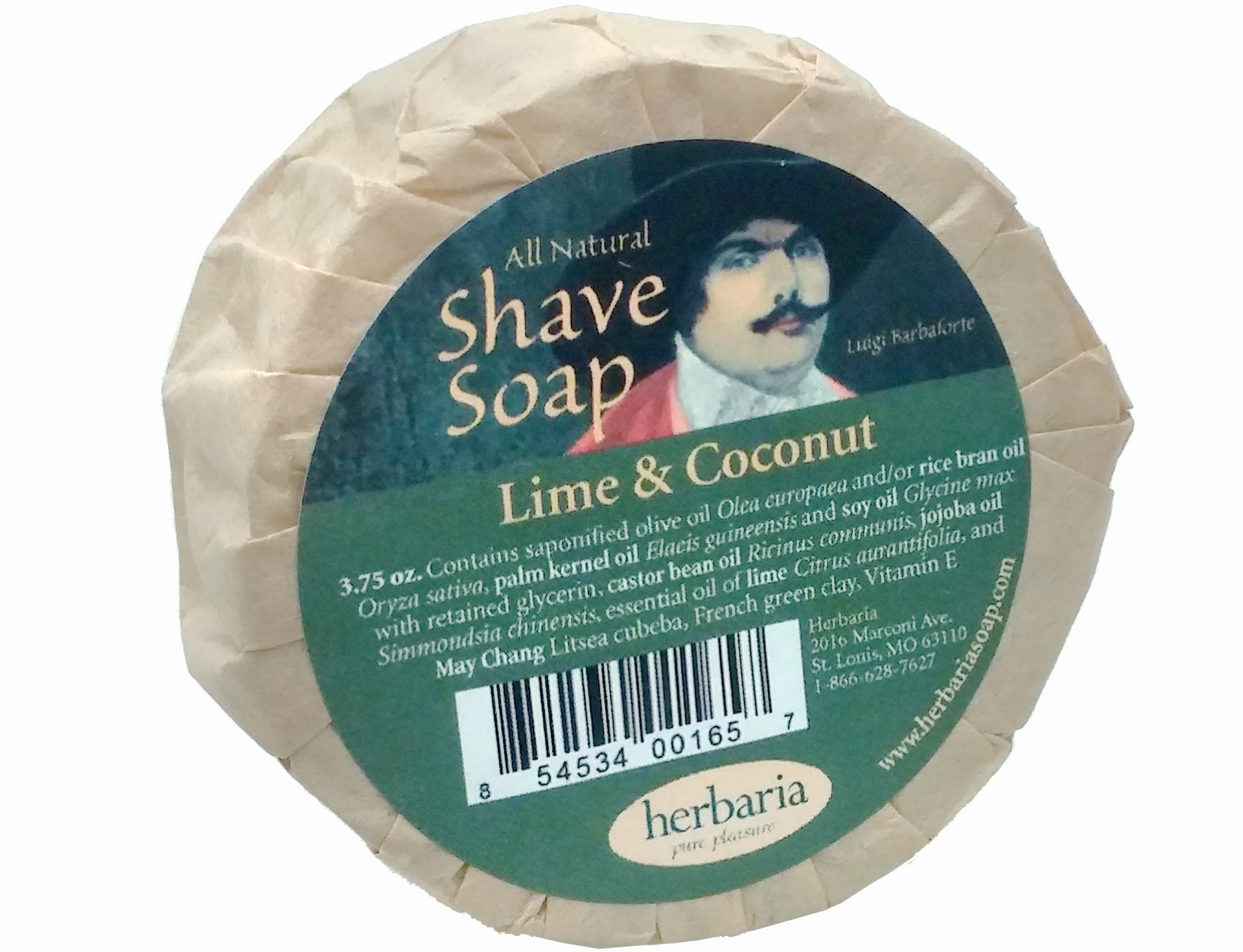 Herbaria Shaving Soap Lime & Coconut Oil all natural with essential oils 3.5 oz