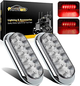 """Trailer Truck LED Steel 6/"""" OVAL Tail Light Guard Box COMPLETE KIT Clear//lens"""
